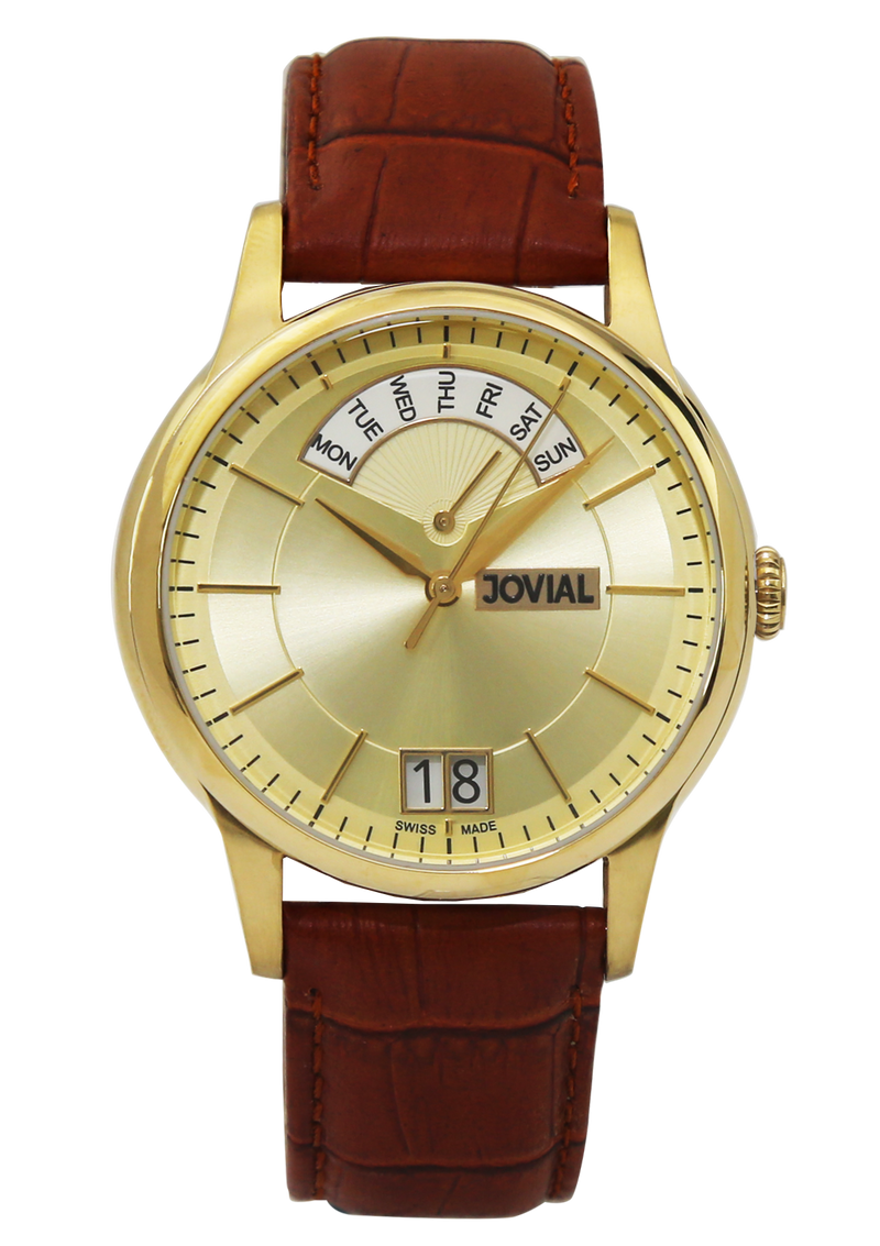 A classic JOVIAL watch 4589GGLQ26-3W Gents Gold (Champagne) 42mm Genuine Leather