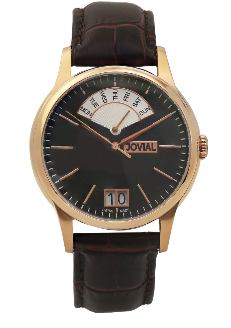 A classic JOVIAL watch 4589GRLQ26-3W Gents Rose Gold (Black) 42mm Genuine Leather