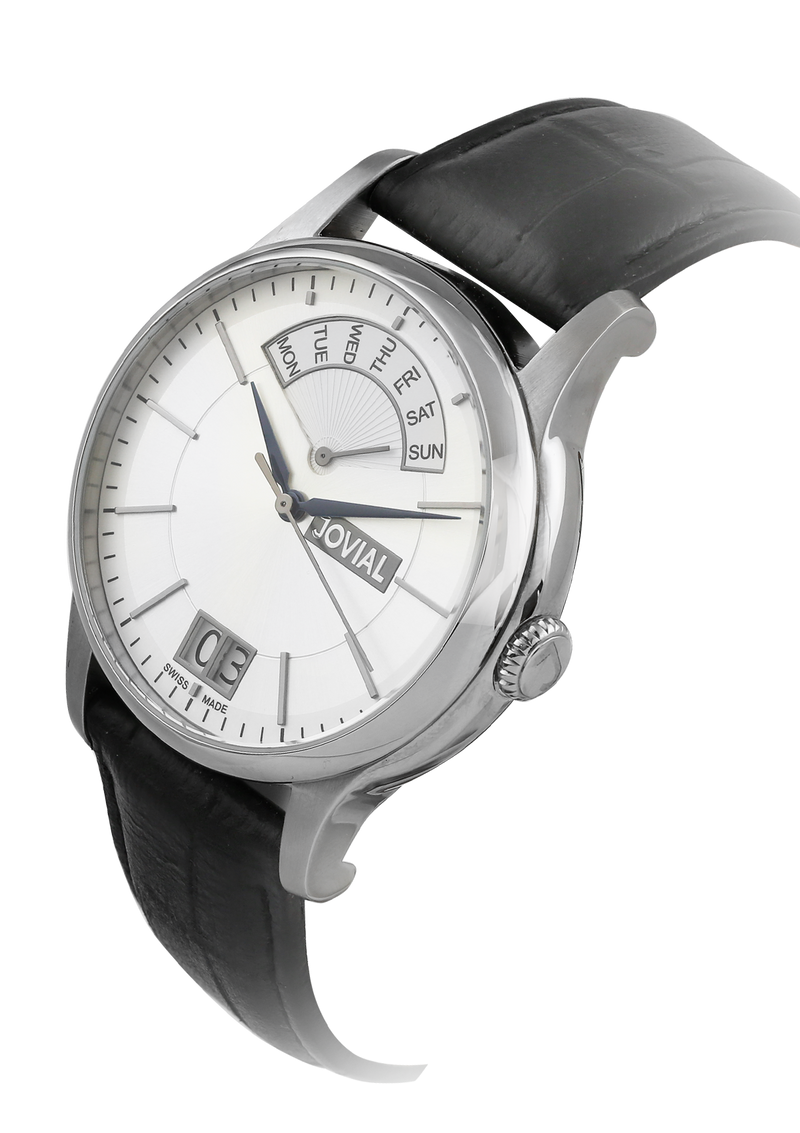 A classic JOVIAL watch 4589GSLC11 Gents Silver (White) 42mm Genuine Leather