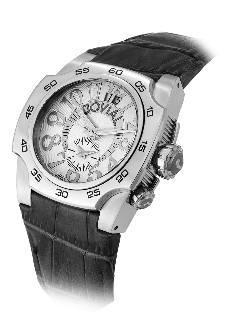 Classic JOVIAL Watch 7211GSLQ11 Gents Silver (White) Genuine leather