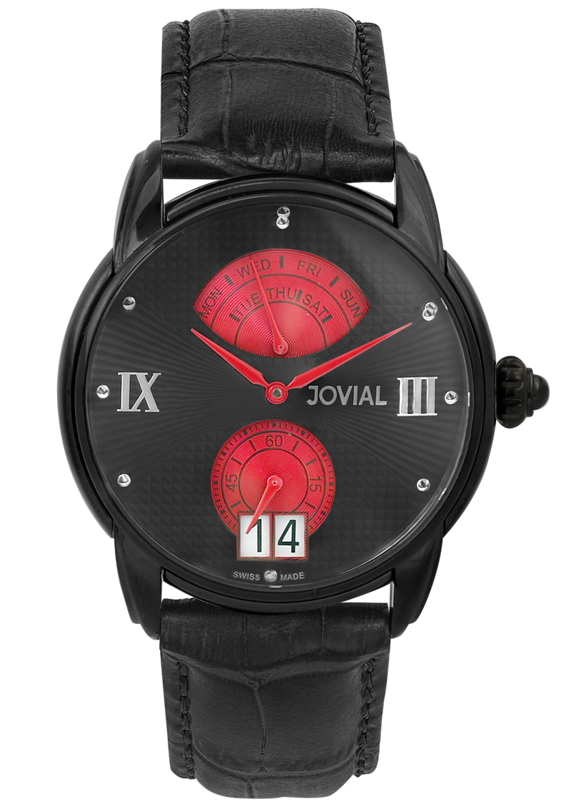 A Classic JOVIAL watch 6606GBLQ 13 Gents Black (Black) 44mm Genuine Leather