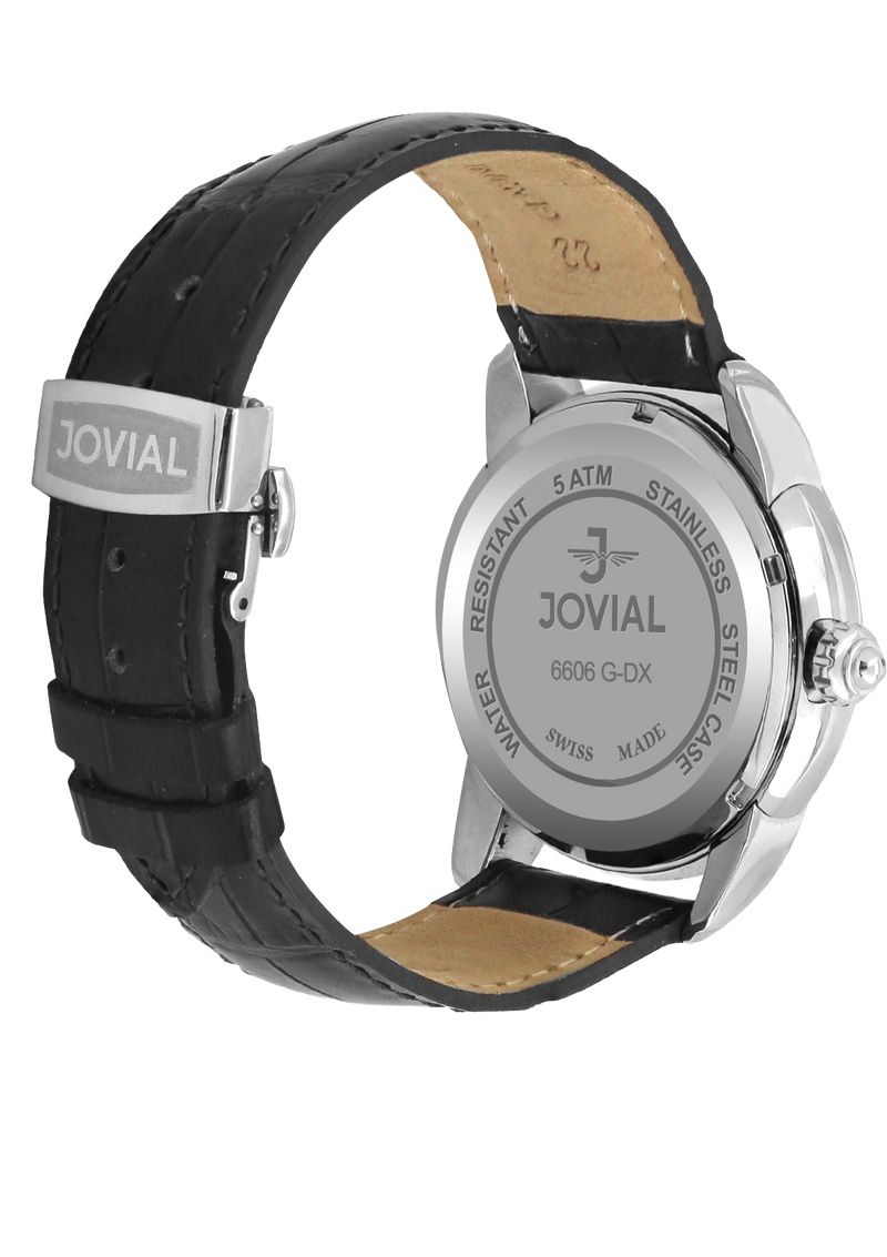 A Classic JOVIAL watch 6606GSLQ11  Gents Silver(white) 45mm Genuine Leather