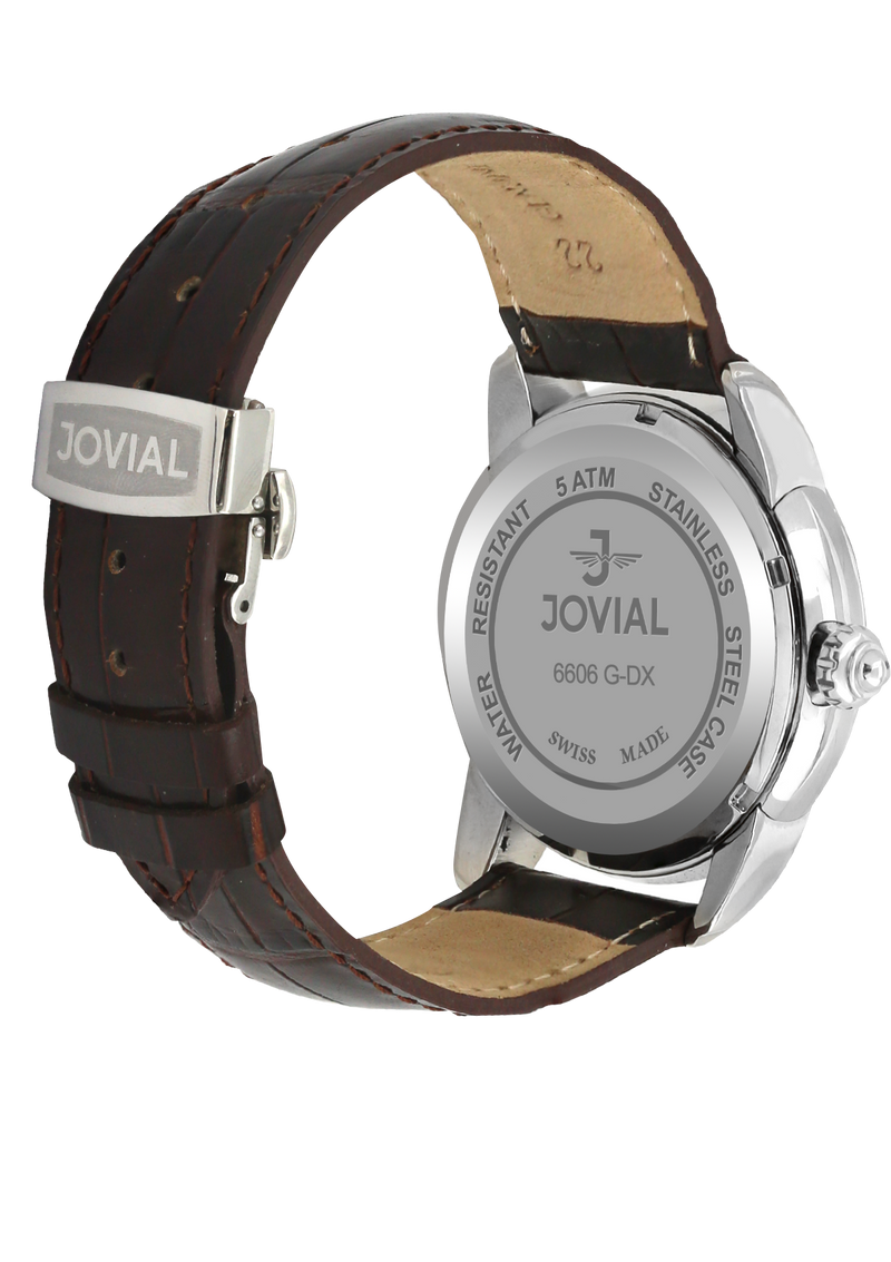 A Classic JOVIAL watch 6606GSLQ33 Gents Silver(Black) 45mm Genuine Leather