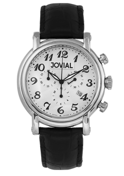 A Chrono JOVIAL watch 6618GSLC11 Gents Silver (White) 45mm Genuine Leather