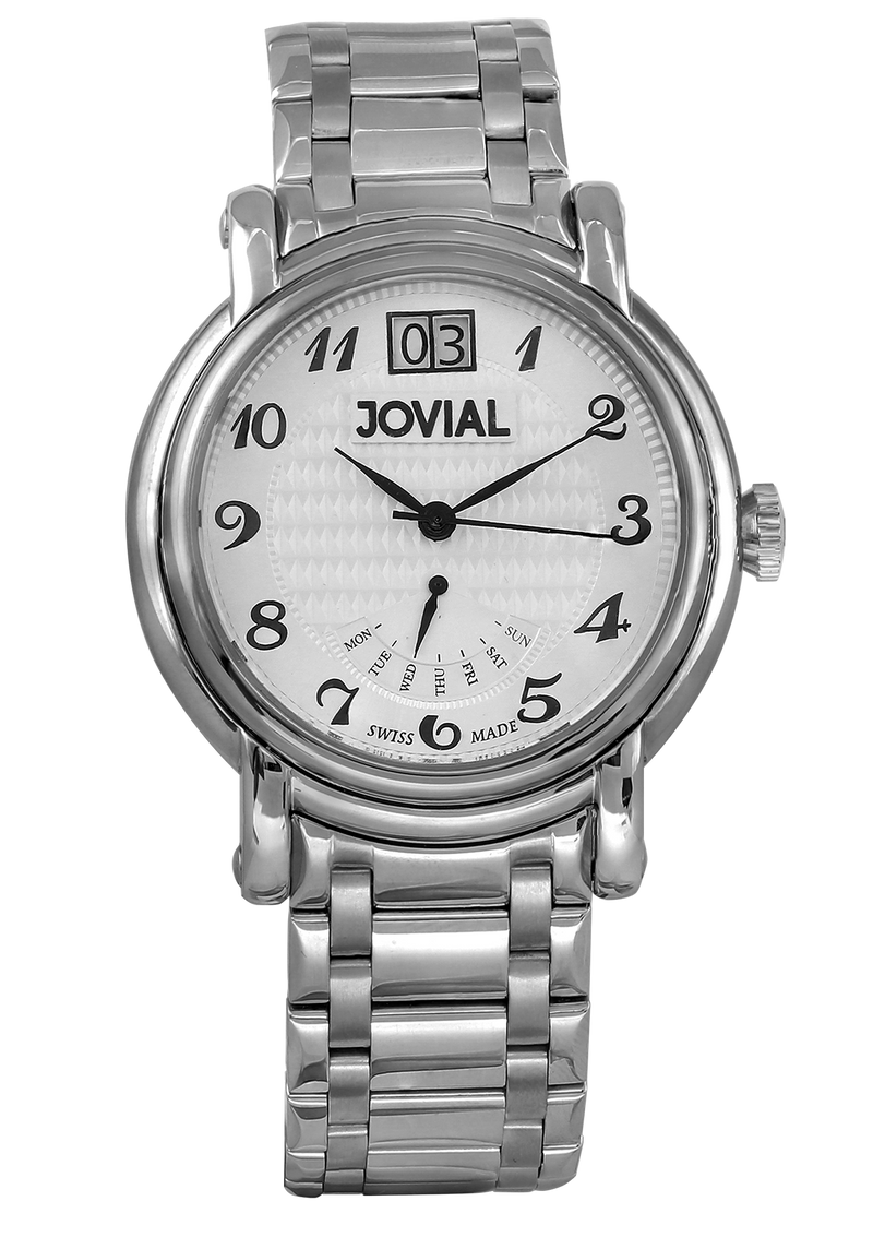 A Classic JOVIAL watch 6619GSMQ01 Gents Silver (White) 45mm Genuine Leather