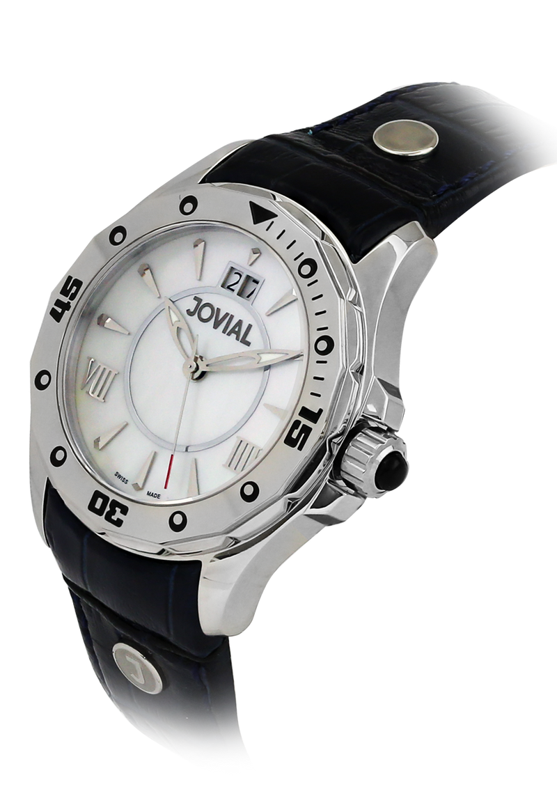 Classic JOVIAL Watch 12039 LSLQ 15 Ladies Silver (White) 46mm Genuine Leather