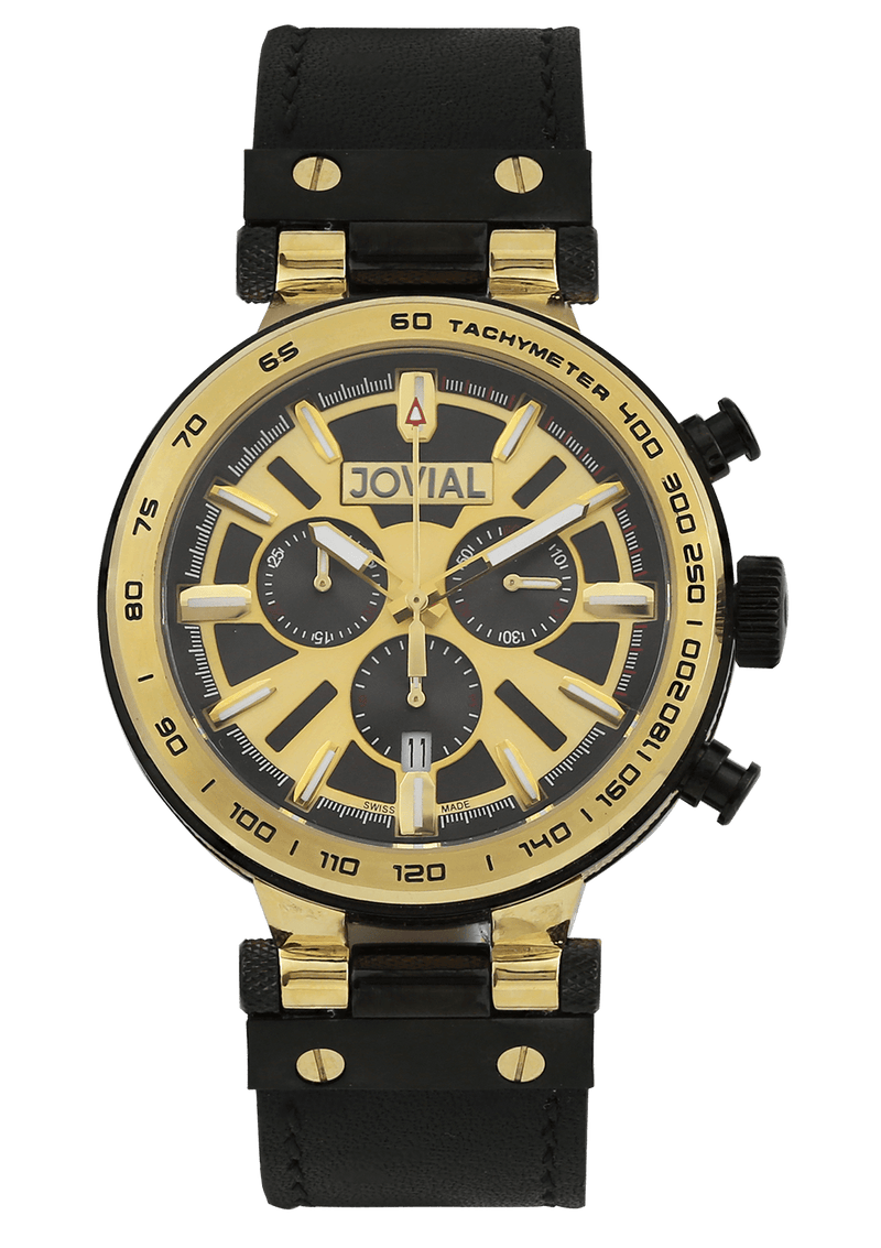 A chrono JOVIAL watch 9100GGLC 13 Gents Gold (Black) 45mm Genuine Leather