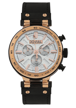 A chrono JOVIAL watch 9100GRLC 11 Gents Rose Gold (White) 45mm Genuine Leather