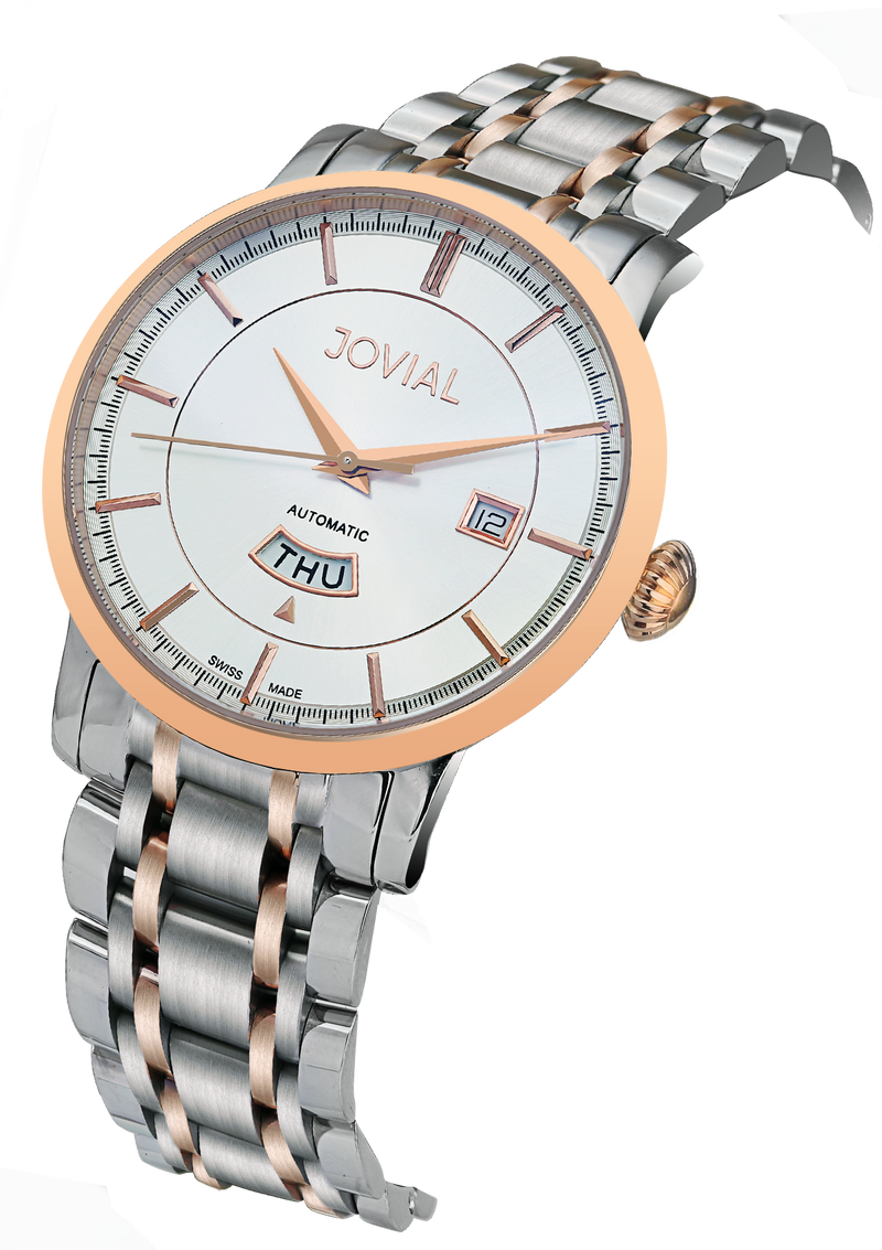 Automatic classic JOVIAL watch 9108GAMA01 Gents Rose Gold (White) 45mm Bracelet