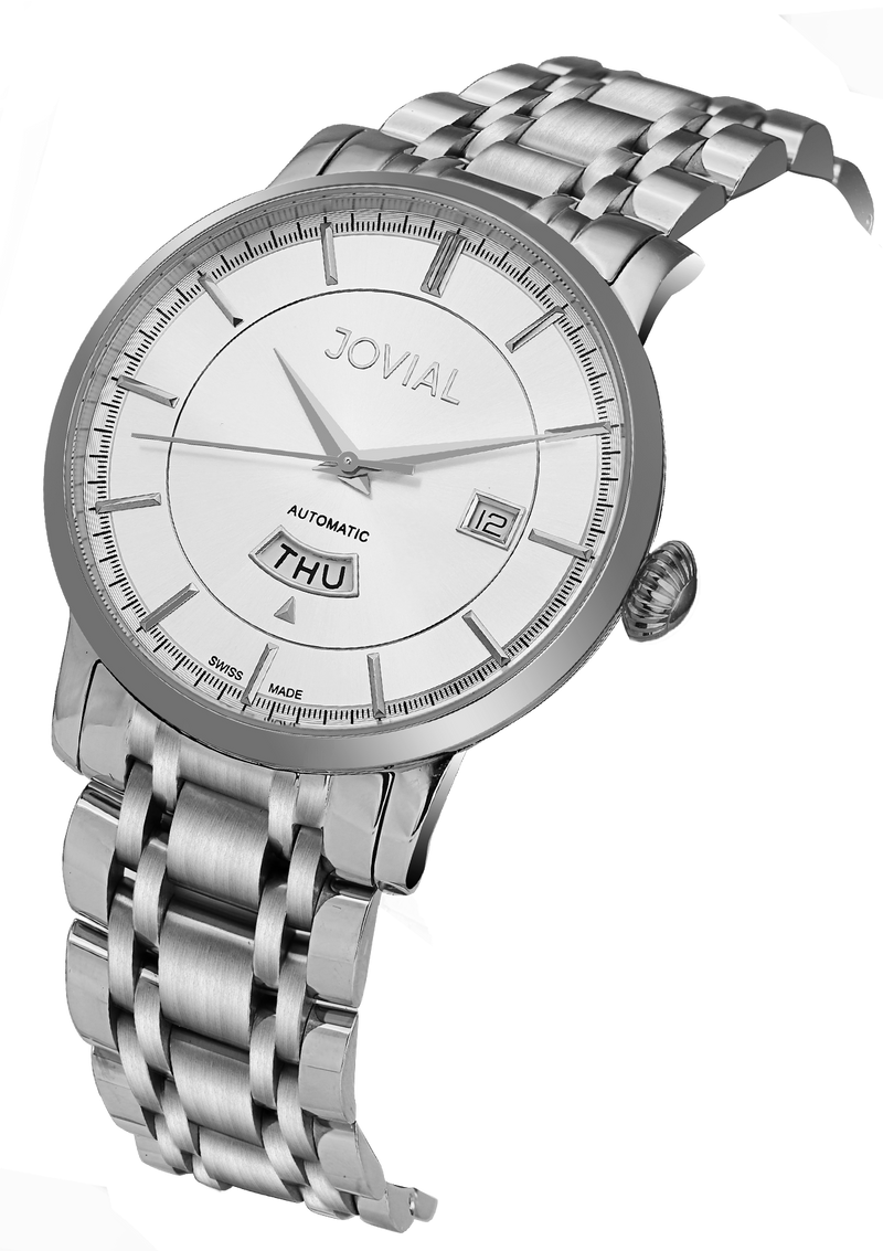 Automatic classic JOVIAL watch 9108GSMA01 Gents Silver(white) 42mm Bracelet