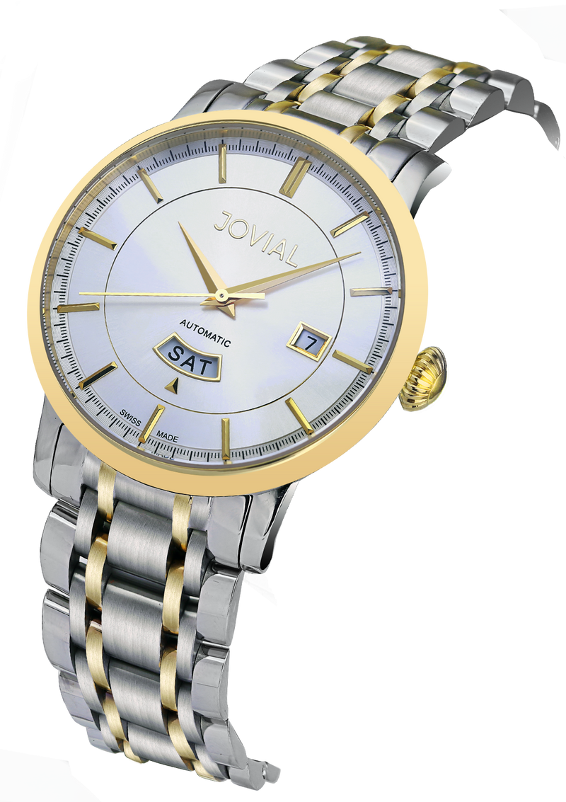 Automatic classic JOVIAL watch 9108GTMA01 Gents two tone Gold (White) 42mm Bracelet