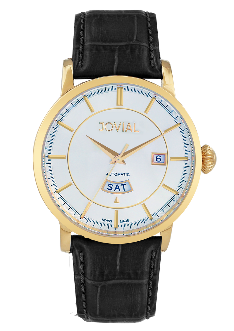 Automatic classic JOVIAL watch 9109GGLA11 Gents Gold (white) 42mm Genuine Leather