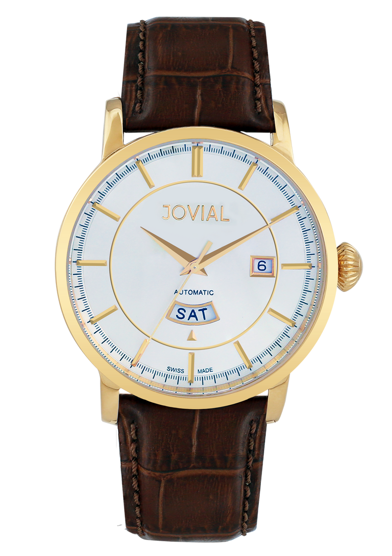 Automatic classic JOVIAL watch 9109GGLA37 Gents Gold (white) 42mm Genuine Leather