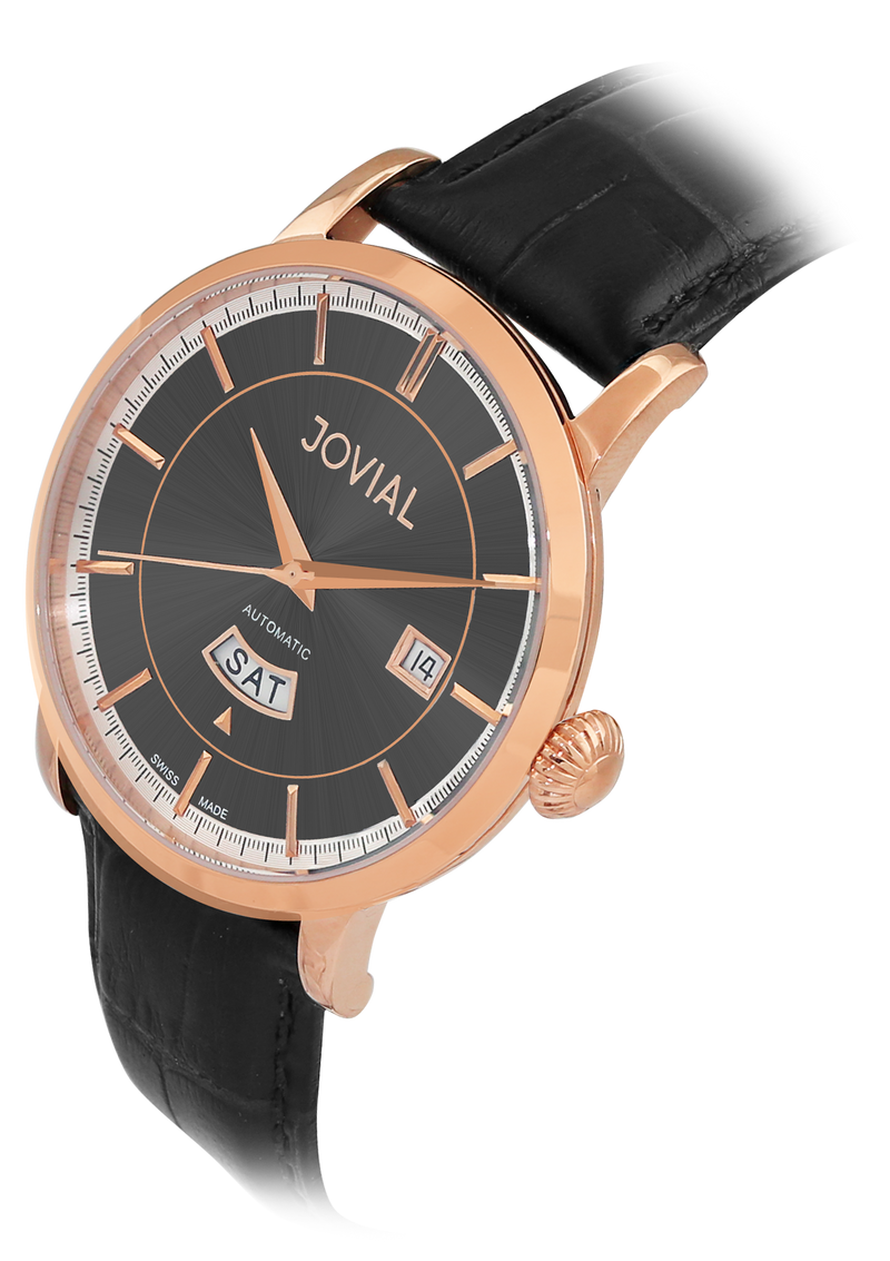 Automatic classic JOVIAL watch 9109GRLA31 Gents Rose Gold (Black) 42mm Genuine Leather
