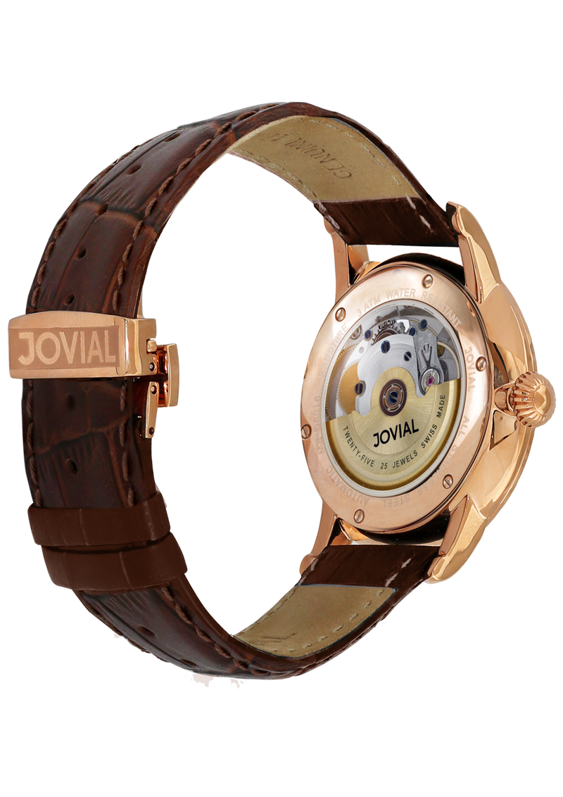 Automatic classic JOVIAL watch 9109GRLA13 Gents Rose Gold (white) 42mm Genuine Leather