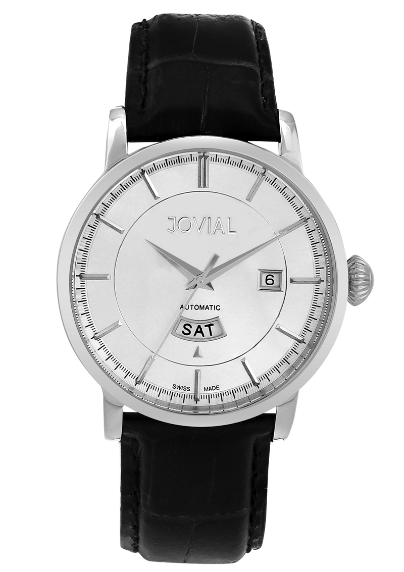 Automatic classic JOVIAL watch 9109GSLA11 Gents Silver (White) 42mm Genuine Leather