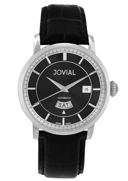 Automatic classic JOVIAL watch 9109GSLA13 Gents Silver (Black) 42mm Genuine Leather