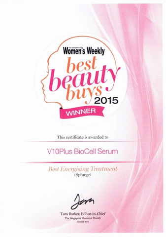 1.	The Best Energizing Treatment:  V 10 Plus Bio Cell Serum Won Beat Beauty Buys Award 2015