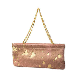 Statement Clutch in Pink/Gold Hair on Hide