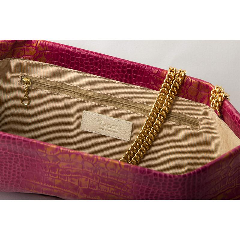 Statement Clutch in Crocodile Embossed Leather - Fuschia/Gold