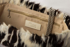 Statement Clutch in White/Brown Hair on Hide