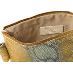 Soiree Wrist Clutch in Snake Embossed Leather - Gold/Gray