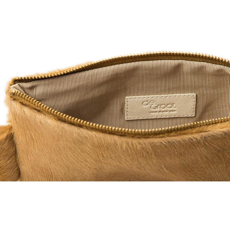 Soiree Wrist Clutch in Hair on Hide - Camel