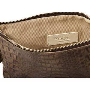 Soiree Wrist Clutch in Crocodile Embossed Leather - Taupe