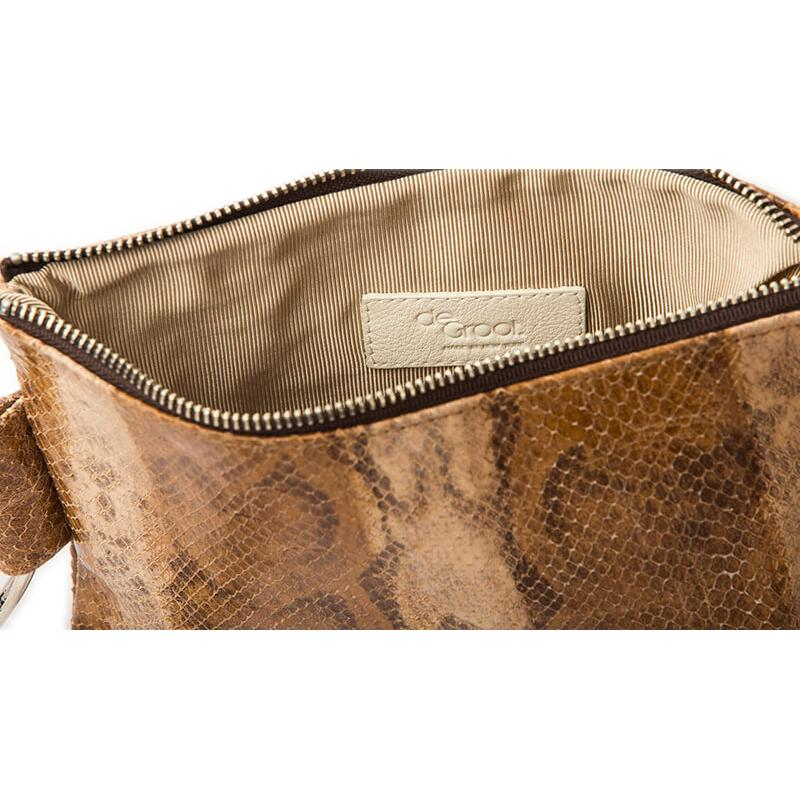 Soiree Wrist Clutch in Snake Embossed Leather - Caramel