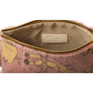 Soiree Wrist Clutch in Hair on Hide - Pink/Gold