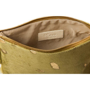 Soiree Wrist Clutch in Hair on Hide - Green/Gold