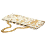 Statement Clutch in White/Gold Hair on Hide