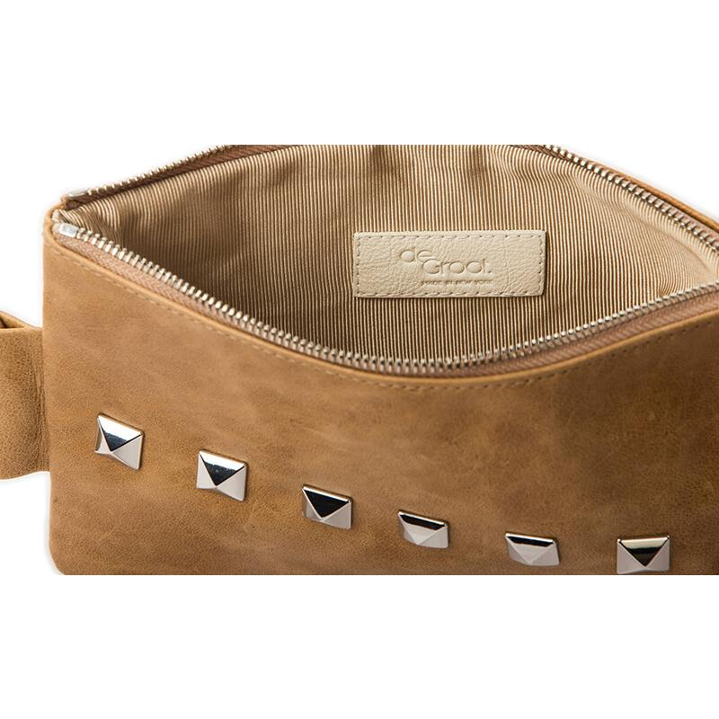 Soiree Wrist Clutch with Rivet Accent - Medium Tan