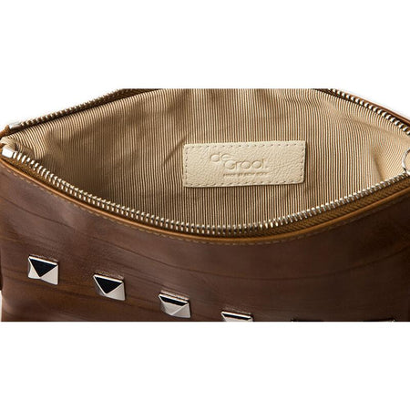 Soiree Wrist Clutch with Rivet Accent - Caramel