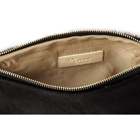 Soiree Wrist Clutch in Hair on Hide - Black