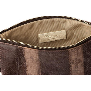 Soiree Wrist Clutch in Snake Embossed Leather - Brown