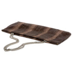 Statement Clutch in Snake Embossed Leather - Brown