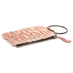 Soiree Wrist Clutch in Hair on Hide - Pink/White