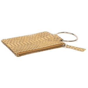 Soiree Wrist Clutch in Snake Embossed Leather - Tan