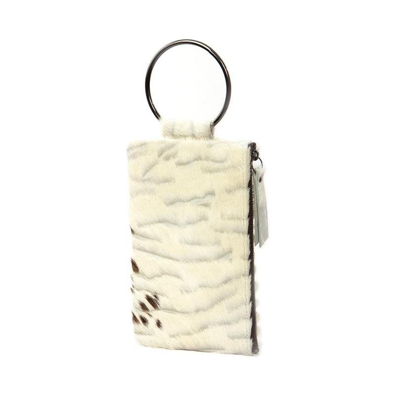 Soiree Wrist Clutch in Hair on Hide - White/Brown