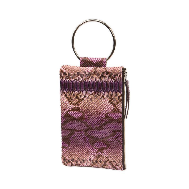 Soiree Wrist Clutch in Snake Embossed Leather - Purple