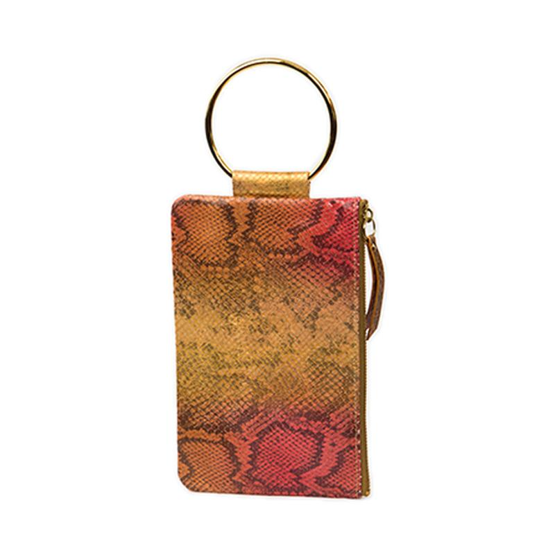 Soiree Wrist Clutch in Snake Embossed Leather - Gold/Coral
