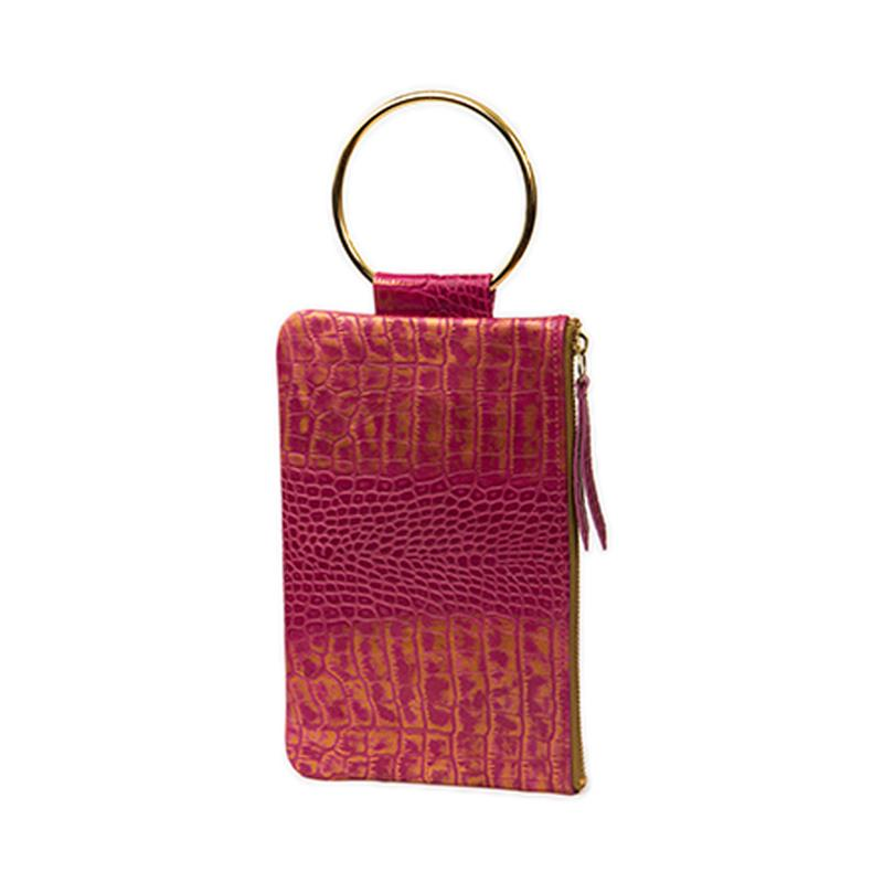 Soiree Wrist Clutch in Crocodile Embossed Leather - Fuschia/Gold
