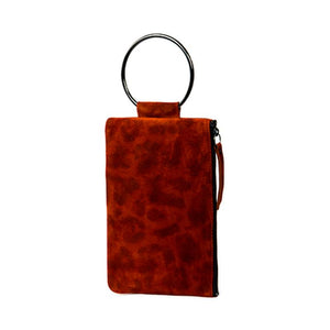 Soiree Wrist Clutch in Leopard Printed Suede - Orange
