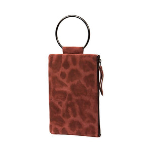 Soiree Wrist Clutch in Leopard Printed Suede - Pink