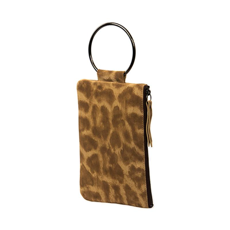 Soiree Wrist Clutch in Leopard Printed Suede - Brown