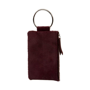 Soiree Wrist Clutch in Hair on Hide - Cranberry