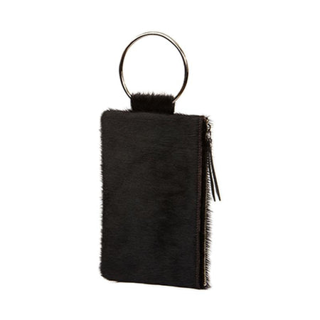 Soiree Wrist Clutch in Hair on Hide - Espresso