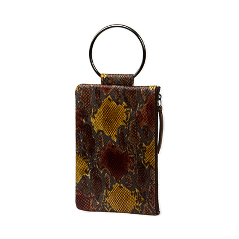 Soiree Wrist Clutch in Snake Embossed Leather - Brown/Gold