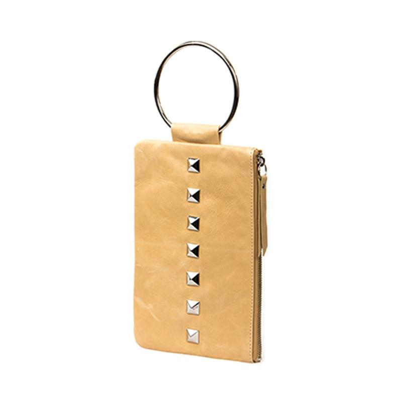 Soiree Wrist Clutch with Rivet Accent - Light Tan